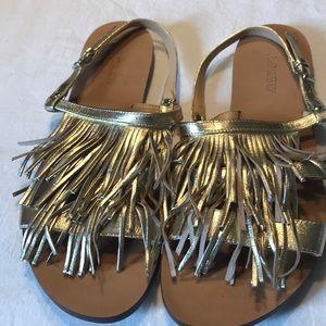 J. Crew Sandals Sz 9.5 Gold Color